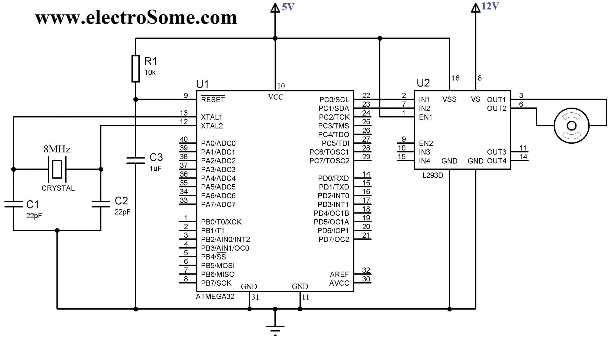 Interfacing Dc Motor With Atmega32 Avr Microcontroller Using L293d Relay Driver Circuit Ic Uln2003 Diagram