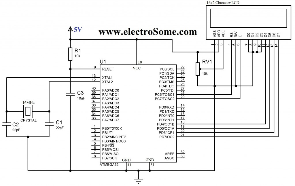 Interfacing 16x2 Lcd With Atmega32 Microcontroller Using