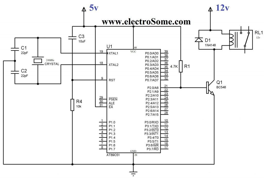 Interfacing Relay with 8051 using Transistor - Circuit Diagram