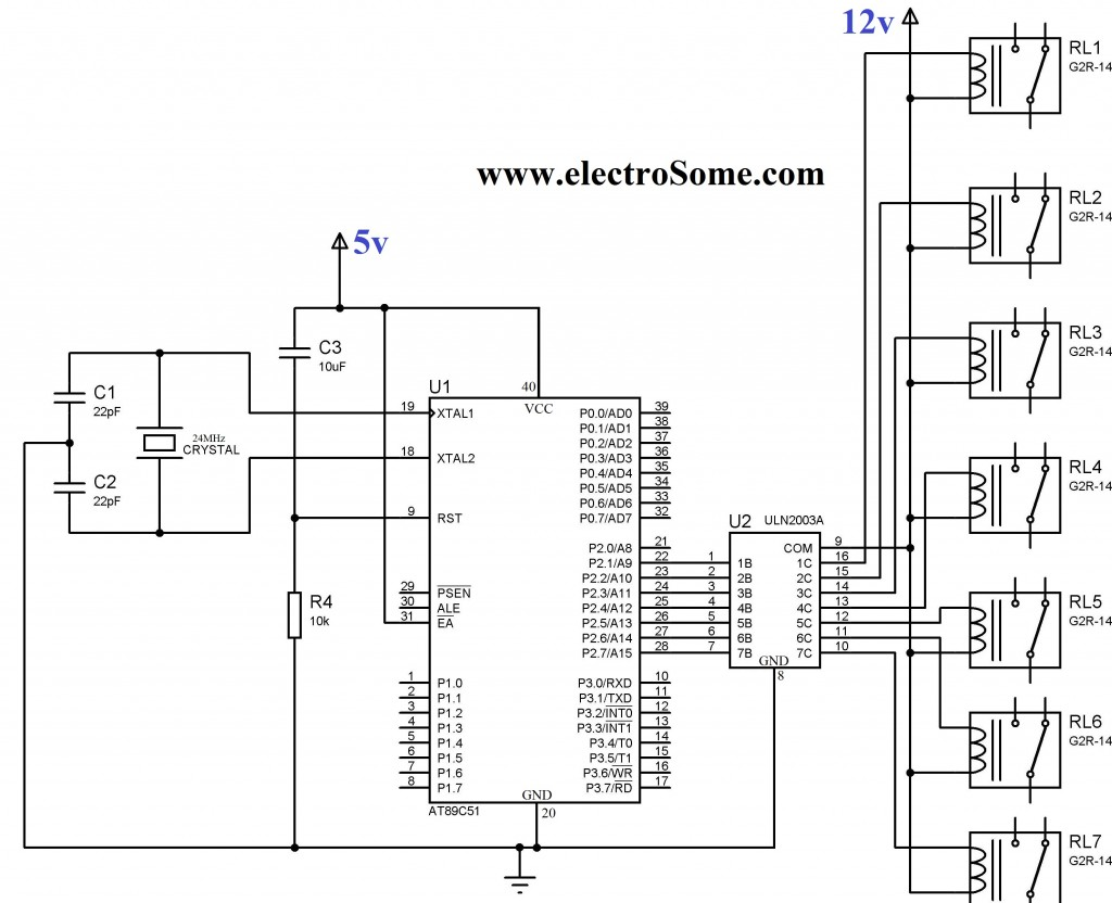 Interfacing Relay with 8051 using ULN2003