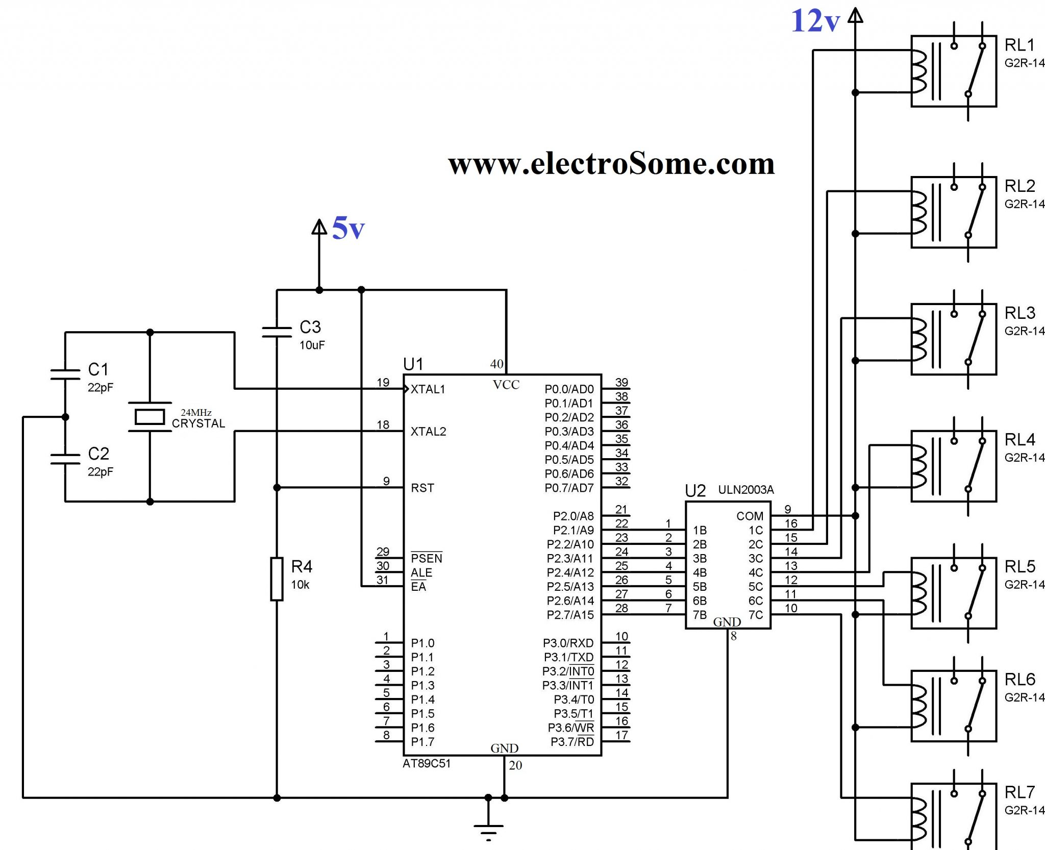 Circuit Diagram. Interfacing Relay with 8051 using ULN2003