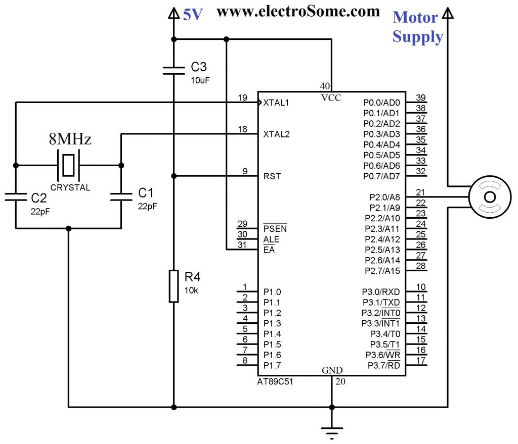 Interfacing Servo Motor with 8051 - Circuit Diagram