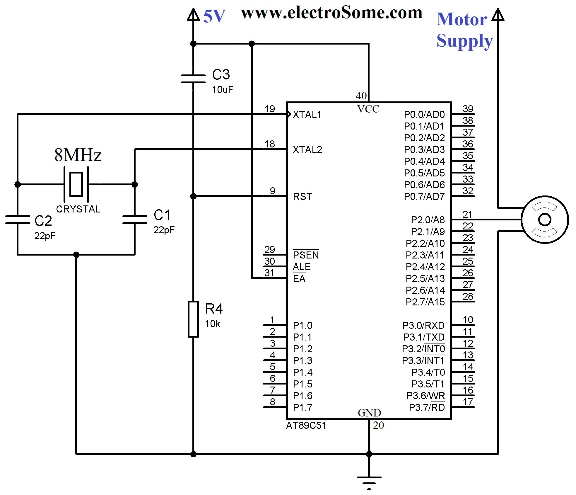 Interfacing Servo Motor With 8051 Microcontroller Using Keil C At89c51 Loop Wiring Diagram Circuit