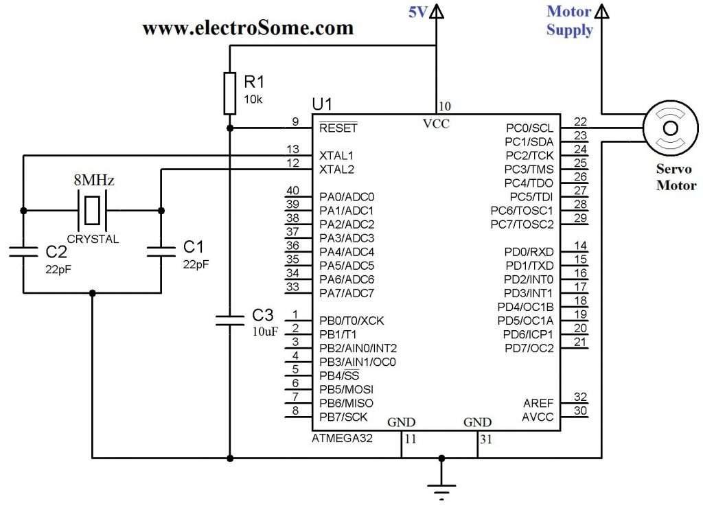 Interfacing Servo Motor with Atmega32 Microcontroller - Circuit Diagram
