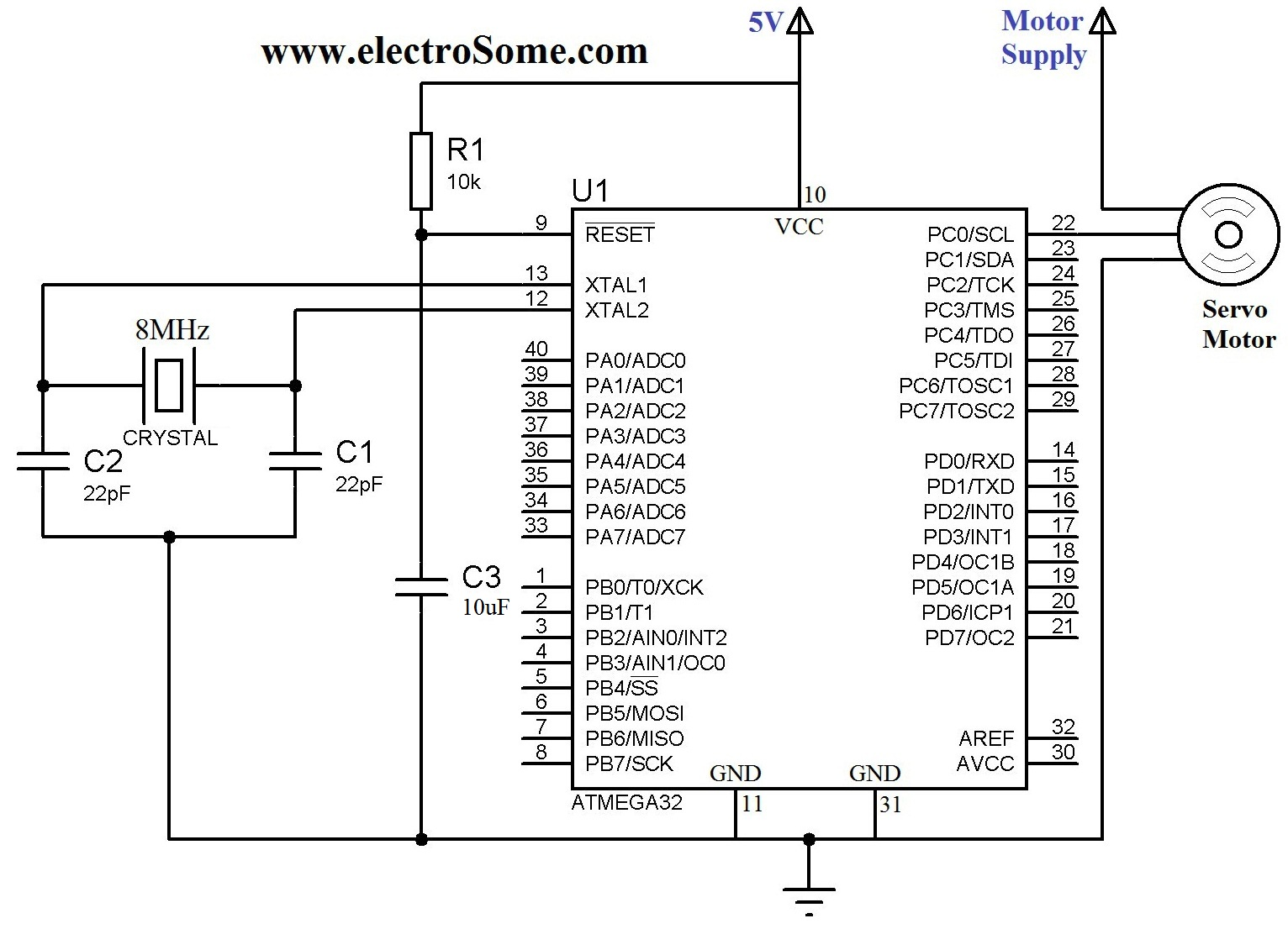 Interfacing Servo Motor With Atmega32 Atmel Avr Microcontroller Circuit Diagram Furthermore Variable Frequency Drive