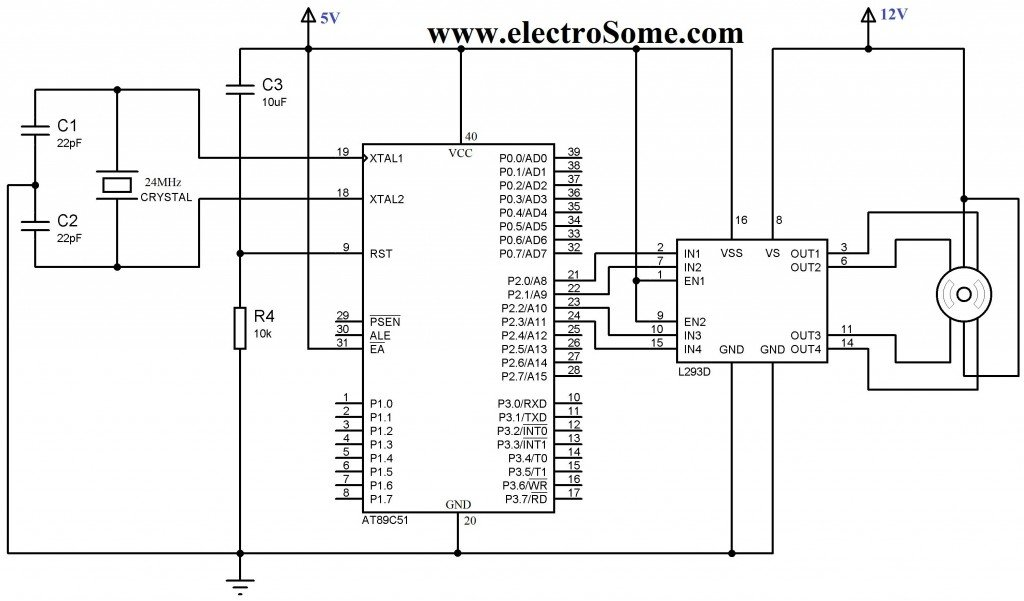 Interfacing Unipolar Stepper Motor with 8051 using L293D
