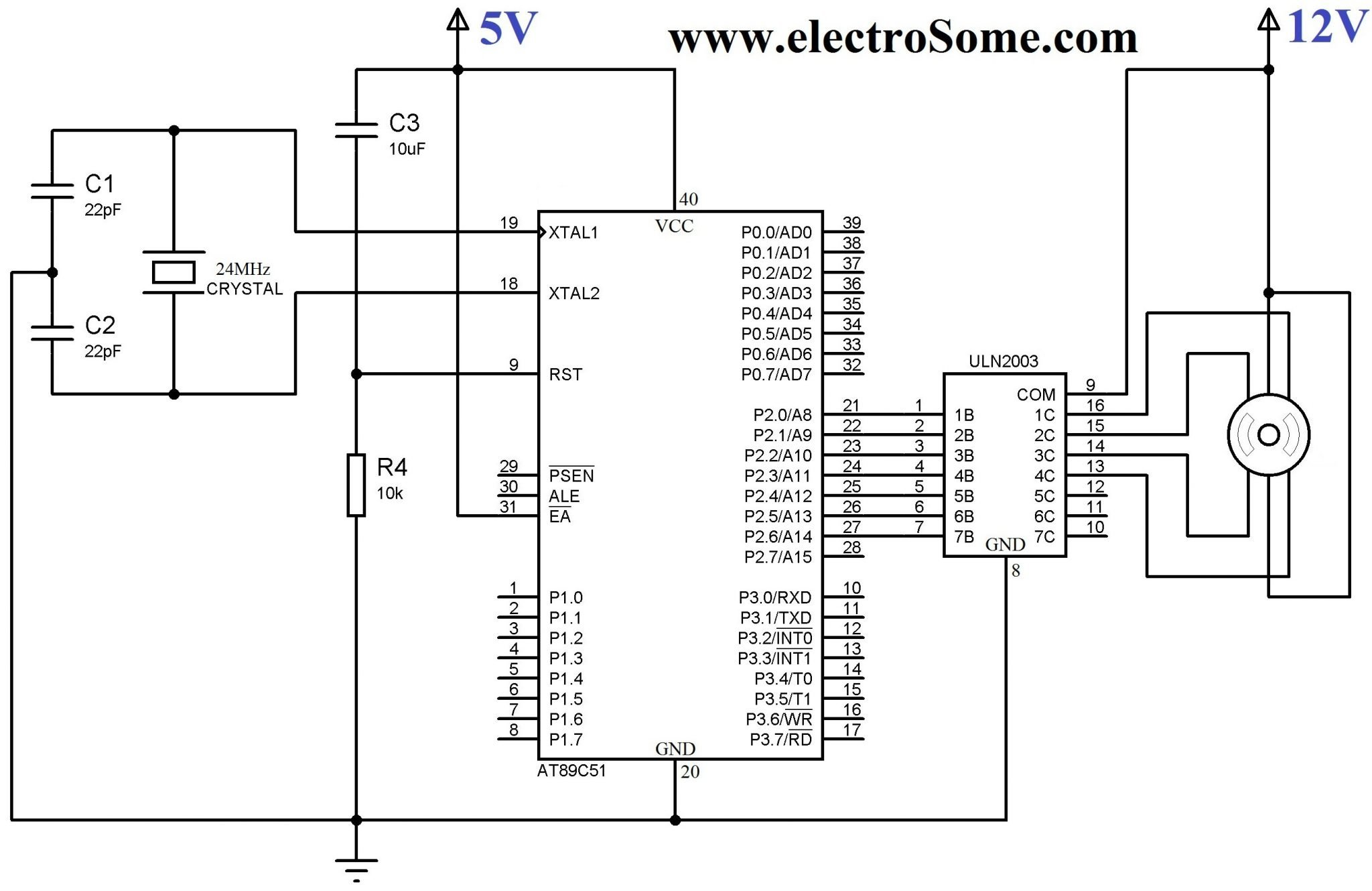 Interfacing Unipolar Stepper Motor with 8051 using ULN2003 interfacing stepper motor with 8051 using keil c at89c51 Single Phase Motor Wiring Diagrams at reclaimingppi.co