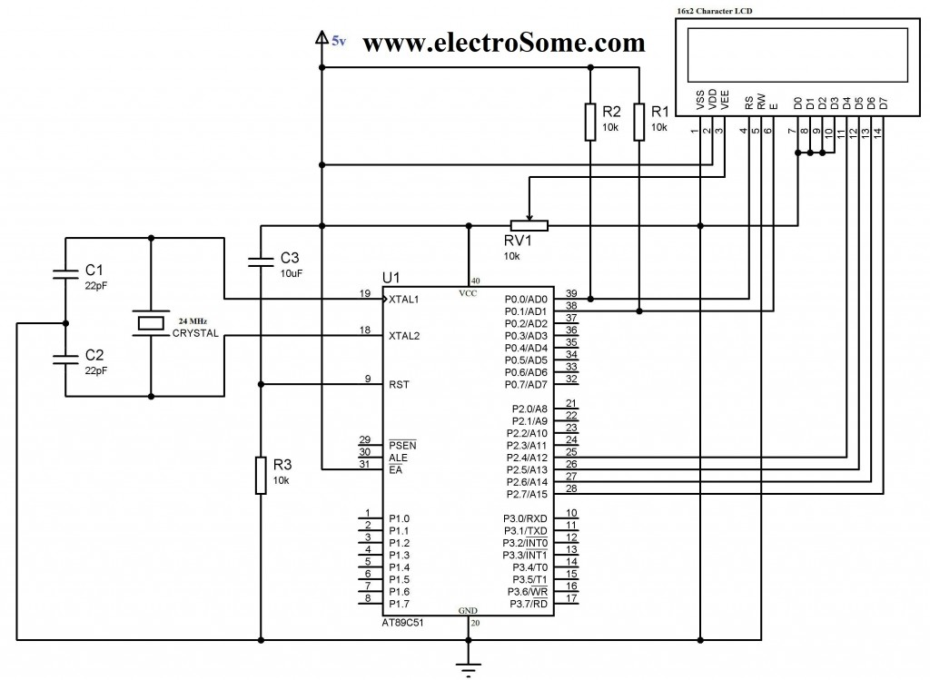 LCD Interfacing with 8051 using Keil C 4 Bit Mode - Circuit Diagram