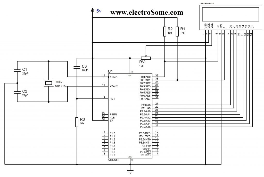 LCD Interfacing with 8051 using Keil C - 8 Bit Mode Circuit Diagram