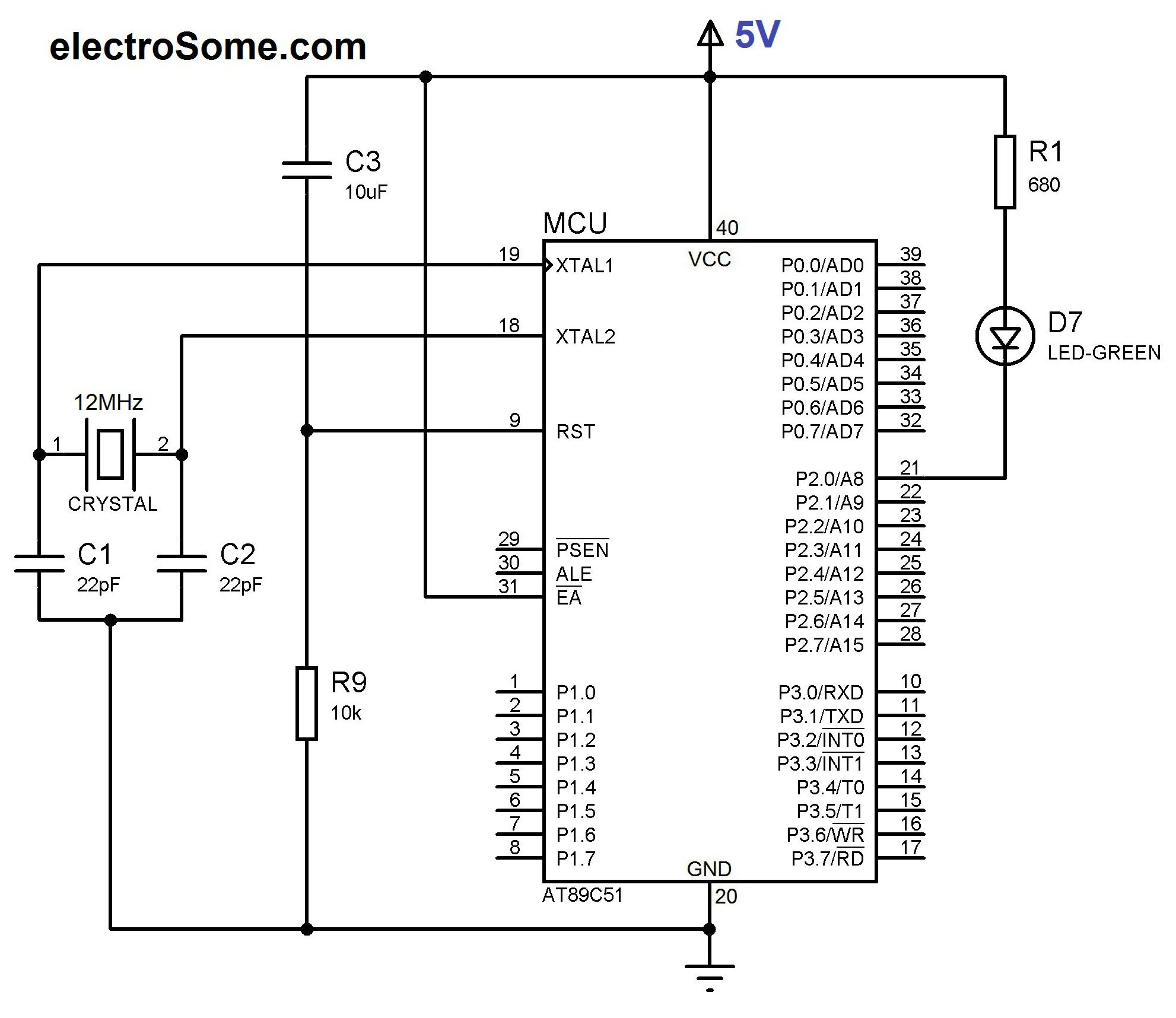 led blinking using 8051 microcontroller and keil c at89c51 rh electrosome com 8051 microcontroller circuit diagram 8051 programmer circuit diagram