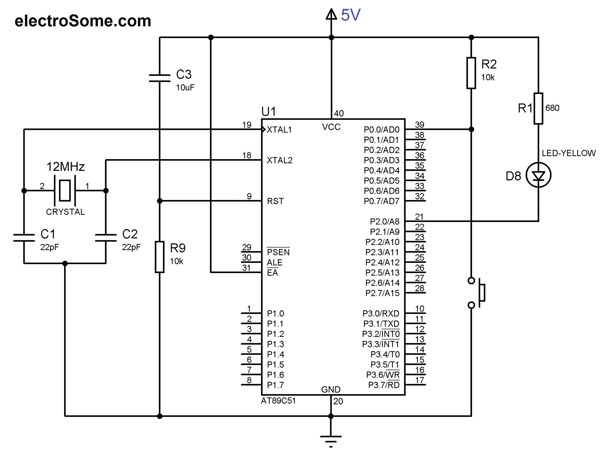 Using Push Button Switch With 8051 And Keil C At89c51 Switching Circuit Diagram Led Interfacing Microcontroller