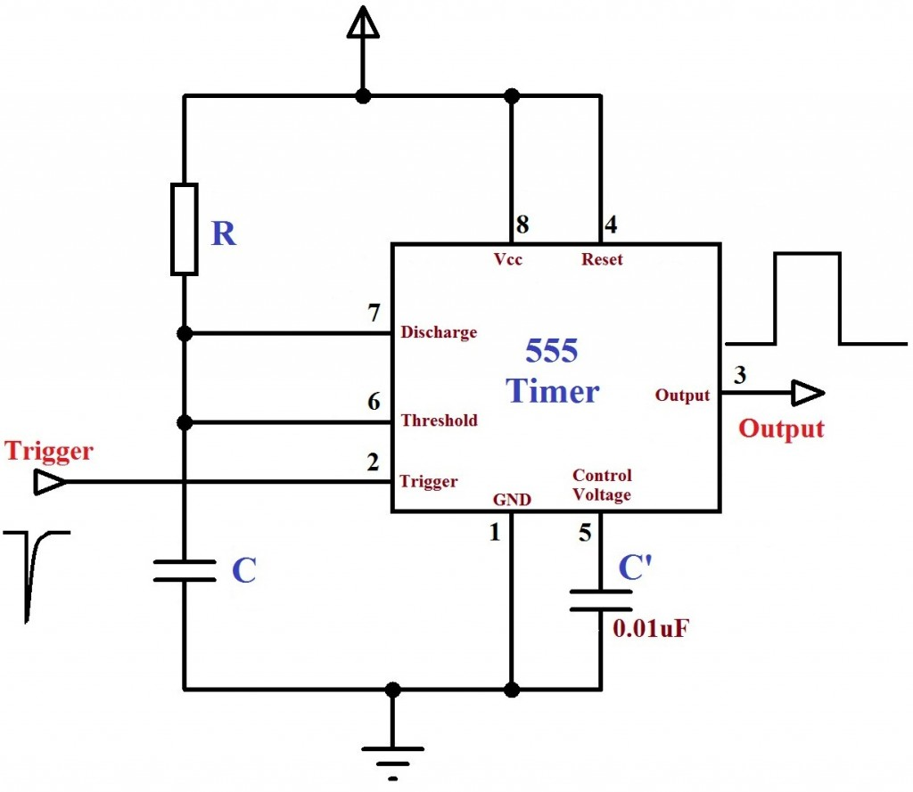 Monostable Multivibrator using 555 Timer - Circuit Diagram