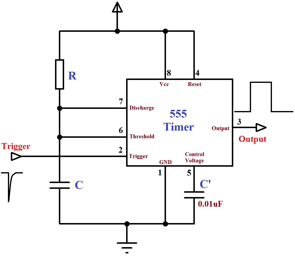 Monstable Multivibrator using 555 Timer