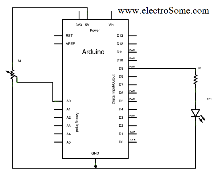 PWM using Arduino Circuit Diagram