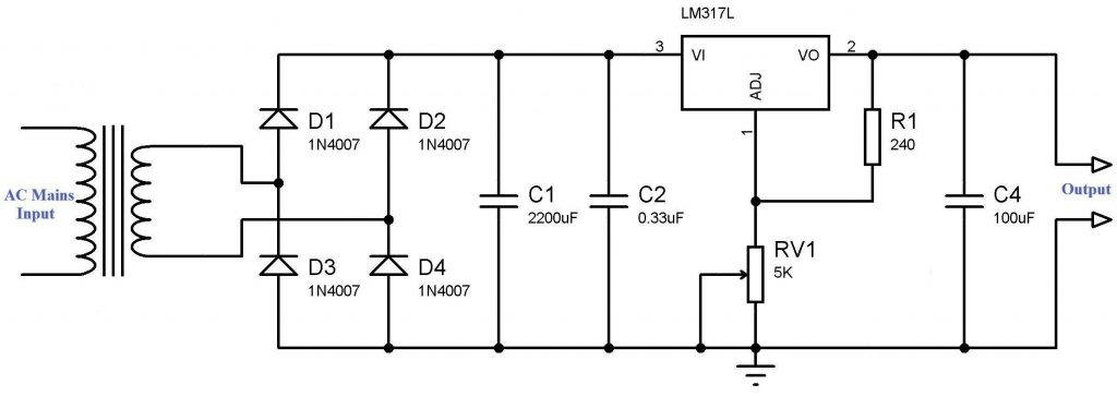Simple Variable Power Supply using LM317