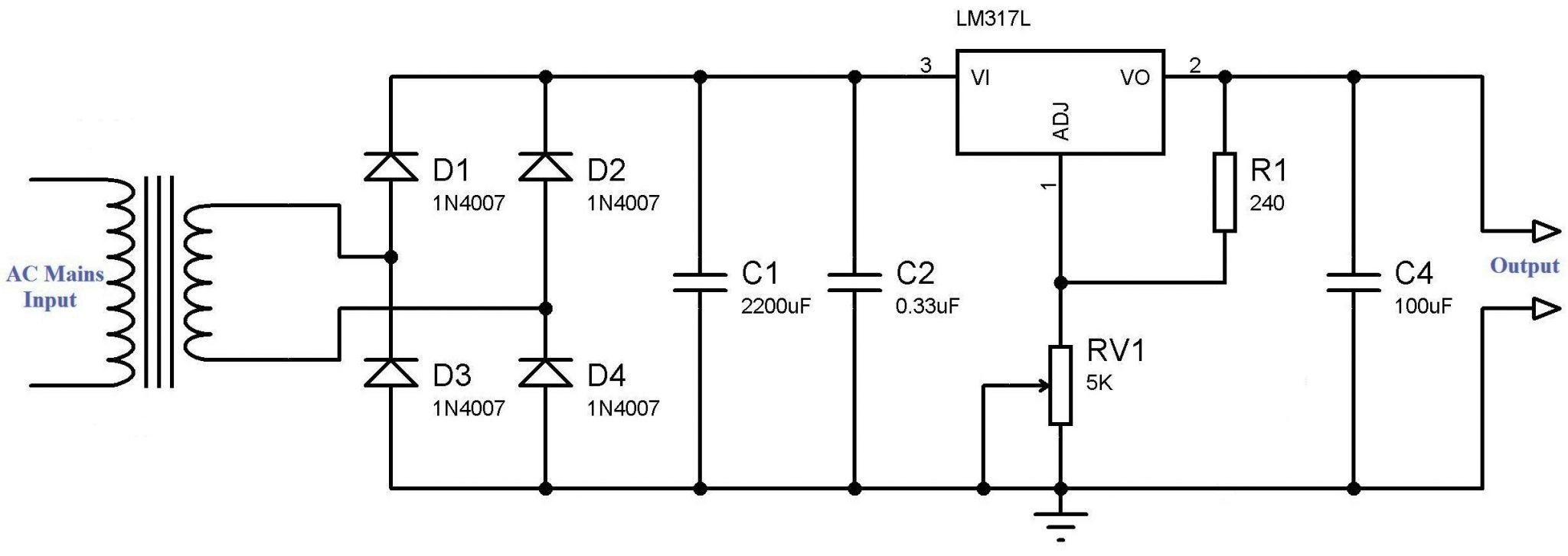 simple circuit diagram  simple variable power supply using lm317