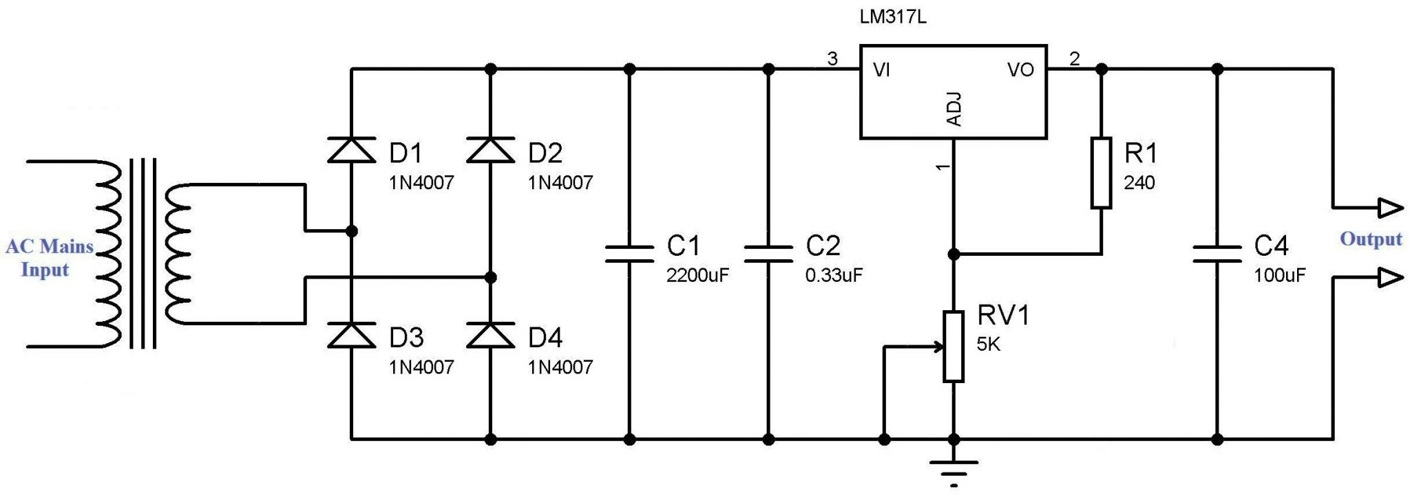 variable power supply using lm317 voltage regulator dell power supply wiring diagram simple circuit diagram simple variable power supply using lm317