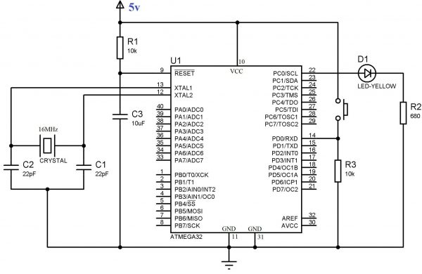 Using Push Button Switch with Atmega32 using Atmel Studio