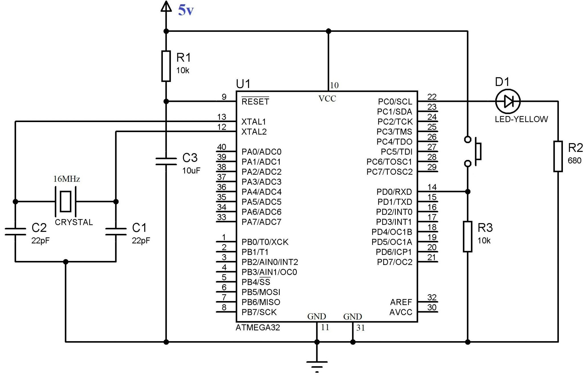 Using Push Button Switch With Atmega32 Microcontroller Atmel Studio Two Float System Schematic