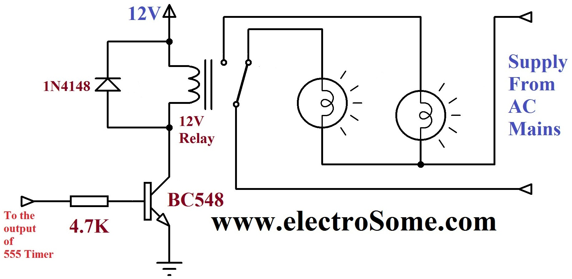 Dancing Light Using 555 Timer Relay Circuit Working