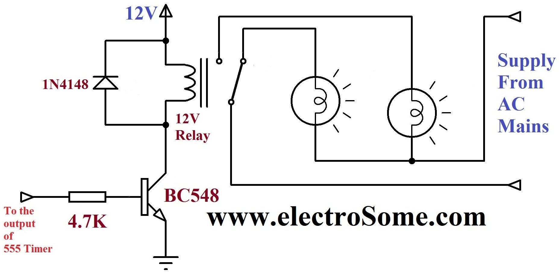 Dancing Light Using 555 Timer Simple Activated Switch Circuit Making Easy Circuits Relay