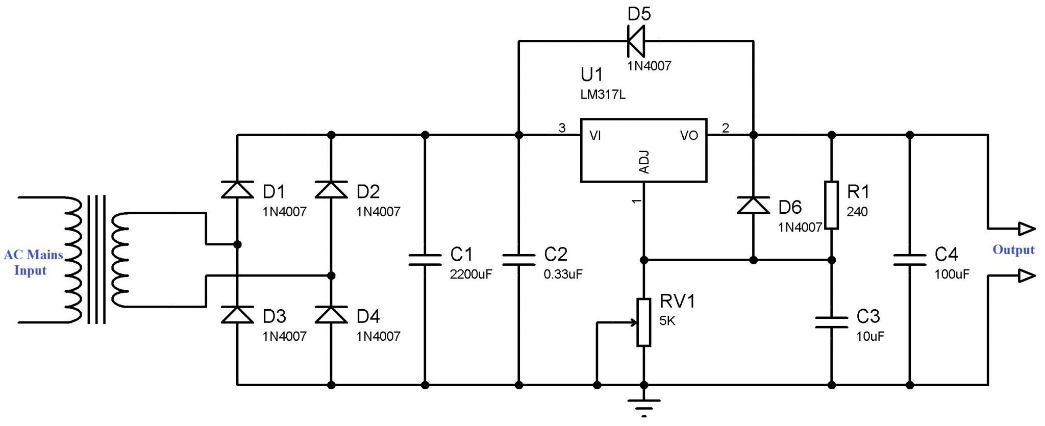 Complete Circuit Diagram. Variable Power Supply using LM317