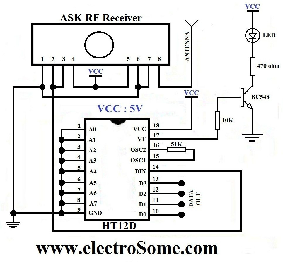 Wireless Transmitter And Receiver Using Ask Rf Module Baud Rate Generator Electronic Circuits Diagram Circuit