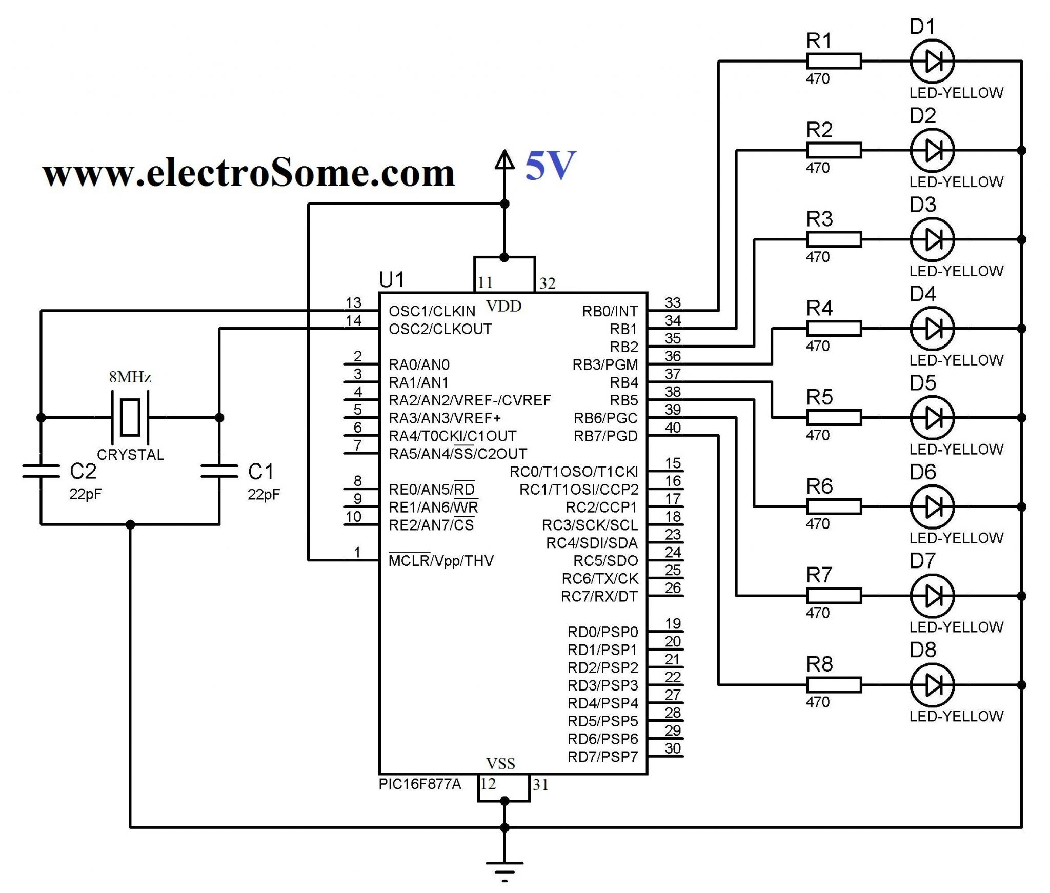 Blinking Led Using Pic Microcontroller Hi Tech C Compiler And Mplab 8051 Projects 038 Circuits Circuit Diagram