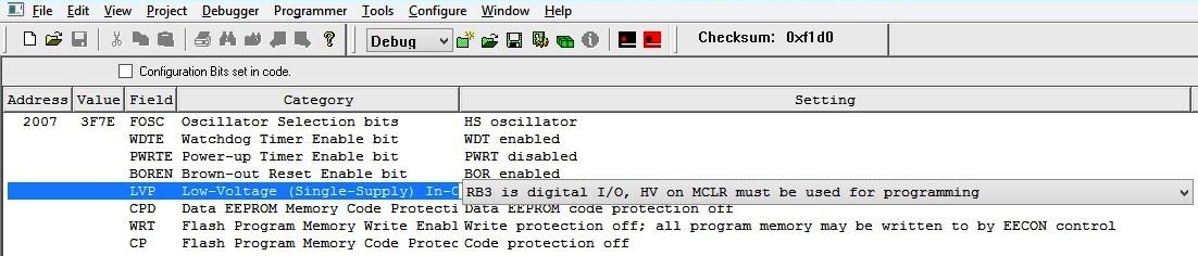 Configuration Bits - MPLAB