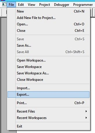 Exporting Hex File - MPLAB