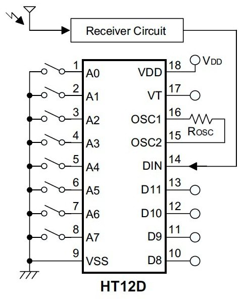 ht12d decoder ic for remote control systems
