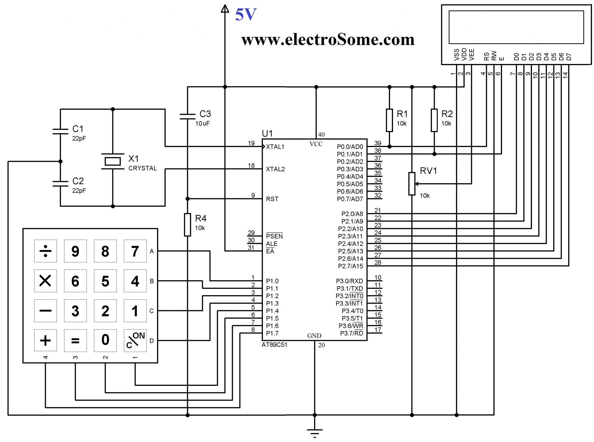Circuit diagram. Interfacing Keypad with 8051 Microcontroller using Keil C