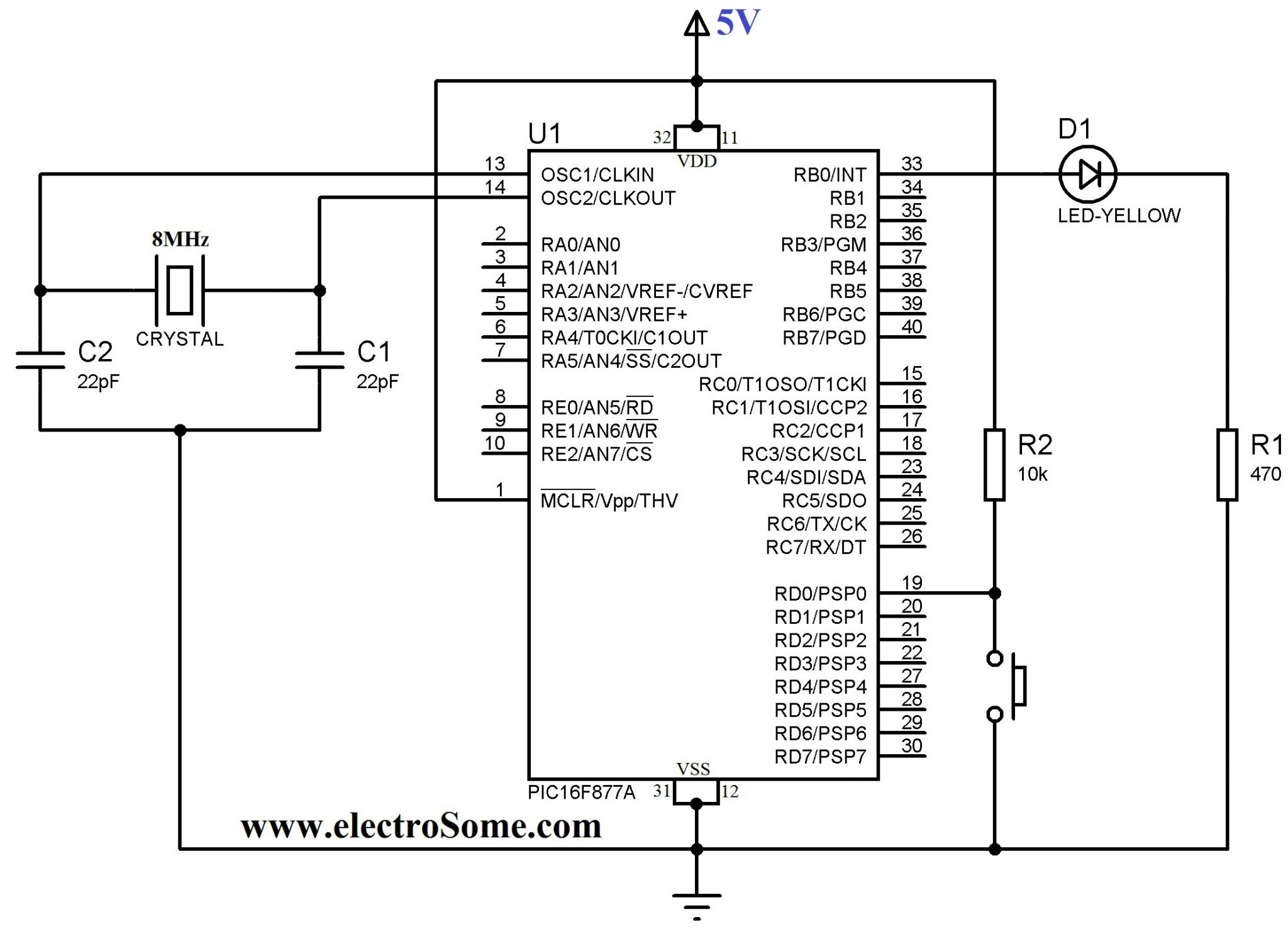 Using Push Button Switch With Pic Microcontroller Mikroc This Is Easy Led Flasher Circuit It Use Ic 555 Drive Display Diagram