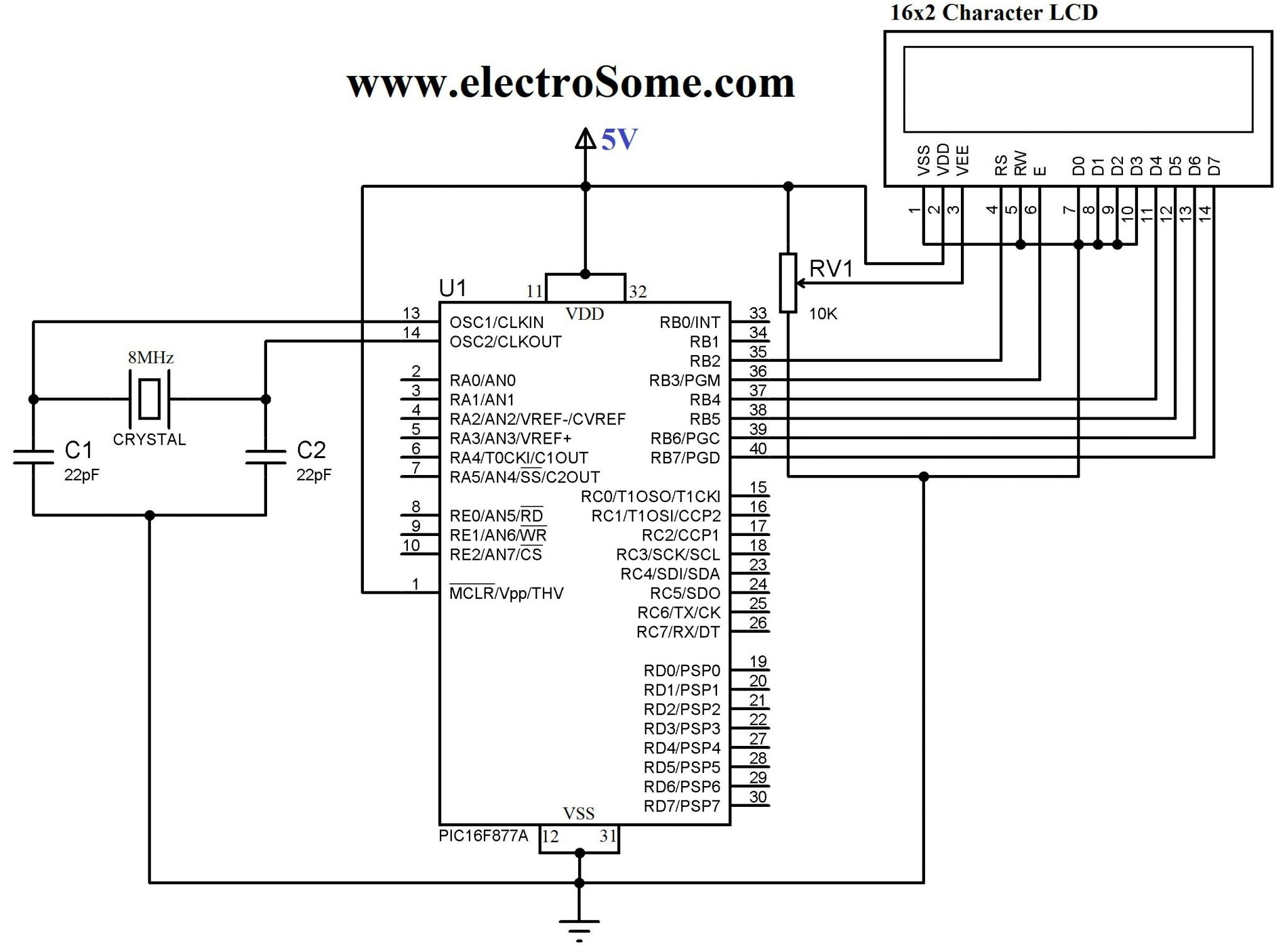 Circuit Diagram. Interfacing LCD with PIC Microcontroller - 4 Bit Mode