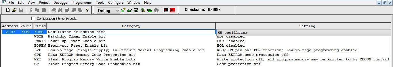 MPLAB - Configuration Bits