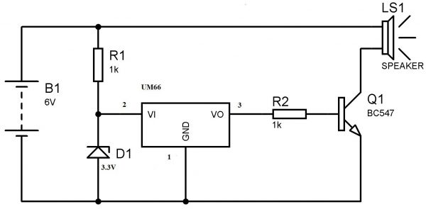 UM66 Musical Bell Circuit Diagram