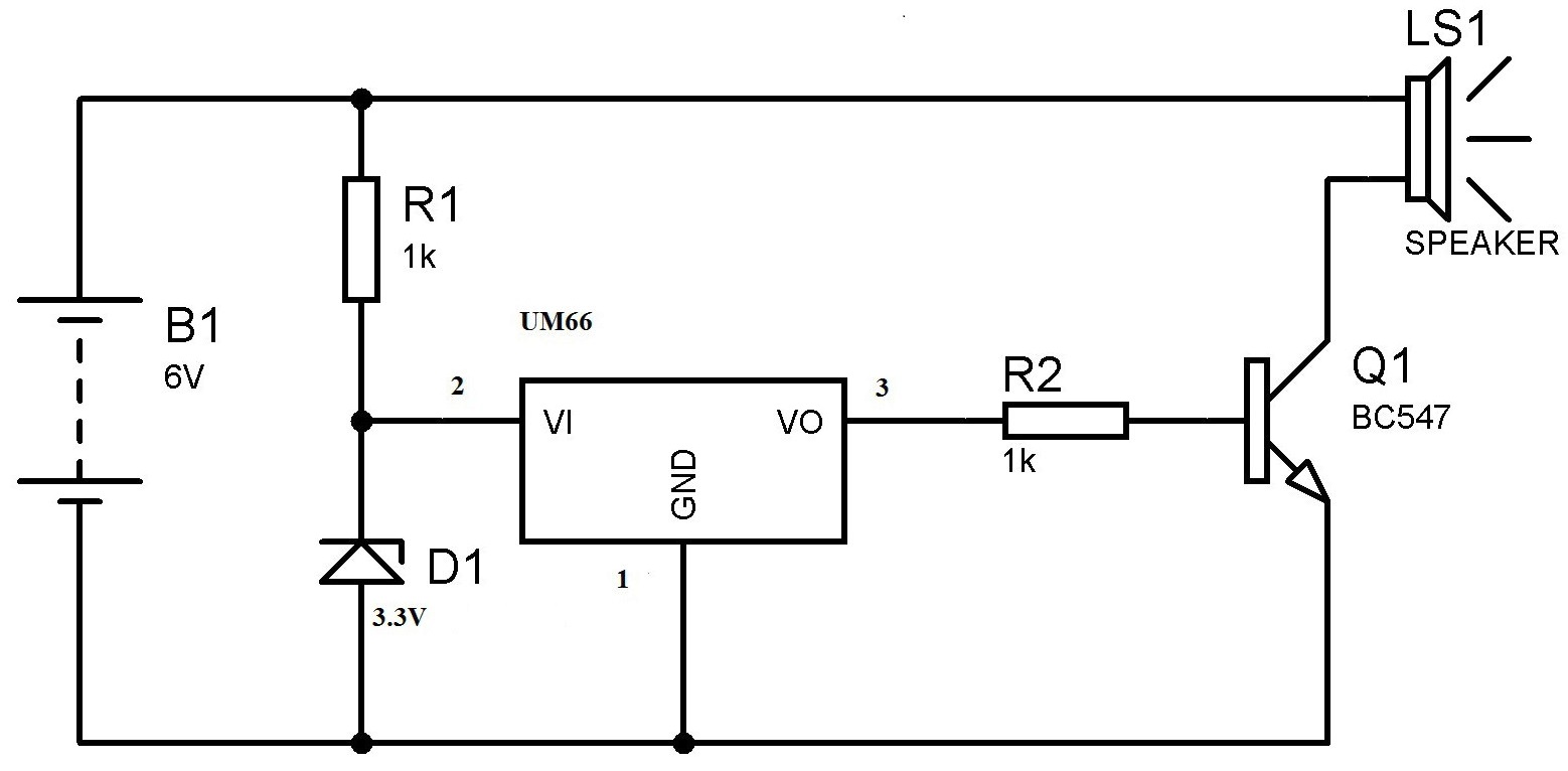 Um66 Melody Generator Circuit For Beginners Wiring A Working Breadboard From Diagram Is Easy If You Musical Bell