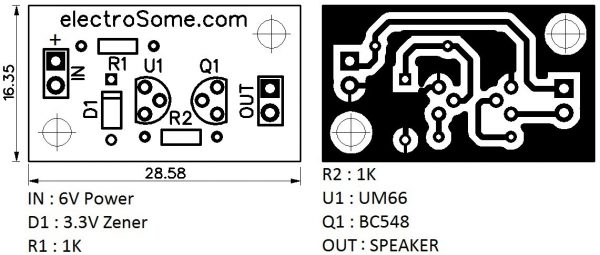 UM66 PCB and Component Layout