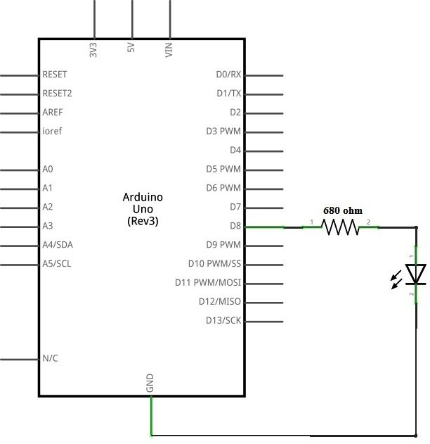 Arduino Uno connected to LED - Schematic