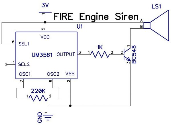 Fire Engine Siren usingIC UM3561