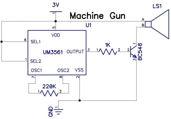 Machine Gun Sound IC UM3561
