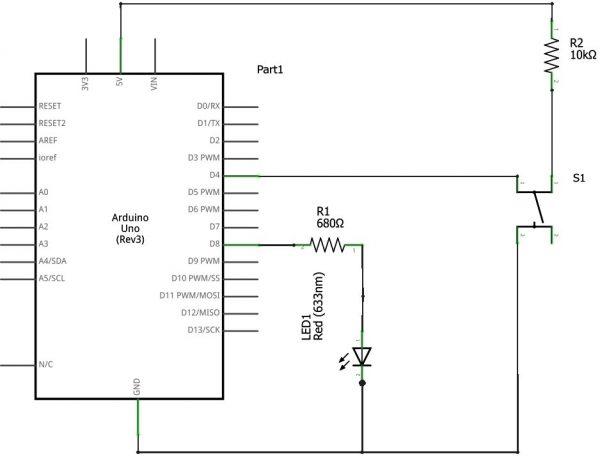 using push button switch with arduino uno rh electrosome com arduino uno wifi rc car wiring diagram arduino uno circuit diagram