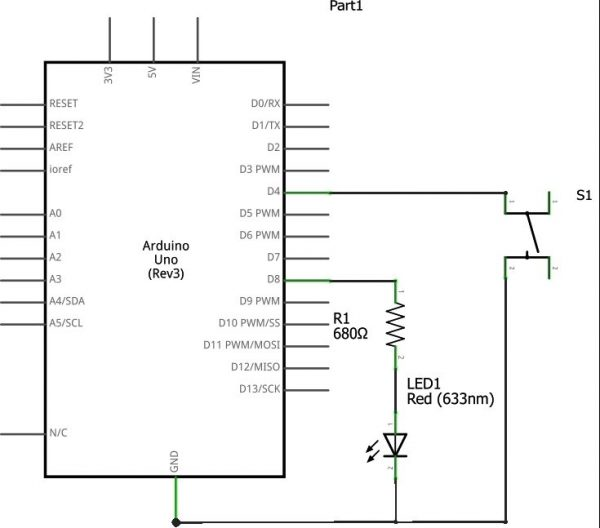Using Switch with Arduino Uno Internal PULL-UP Schematic