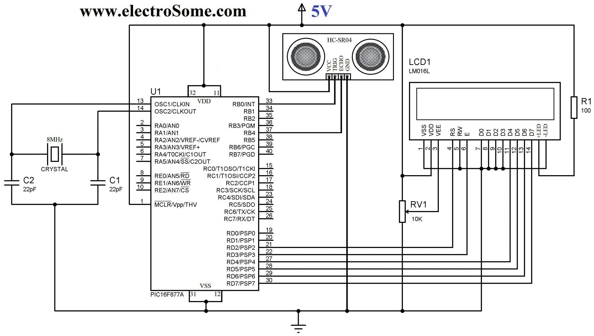 interfacing hc sr04 ultrasonic sensor with pic microcontrollercircuit diagram interfacing hc sr04 ultrasonic distance sensor with pic microcontroller