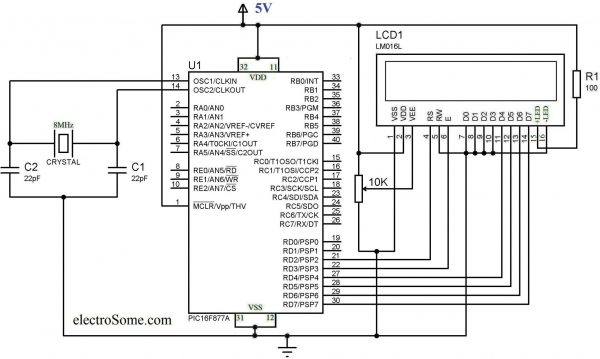 Interfacing LCD with PIC Microcontroller - Circuit Diagram