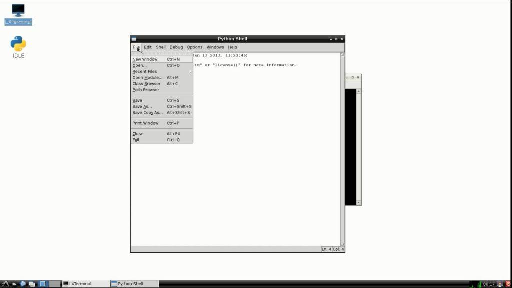 RaspberryPi idle new window