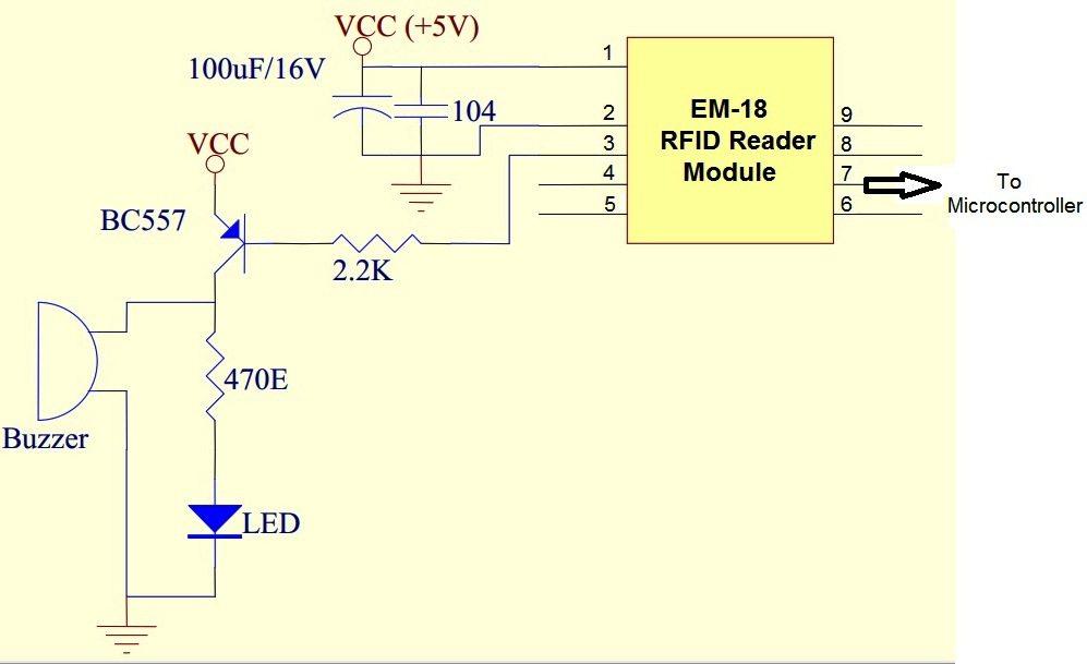 EM-18 RFID Reader Moduel - Application Circuit