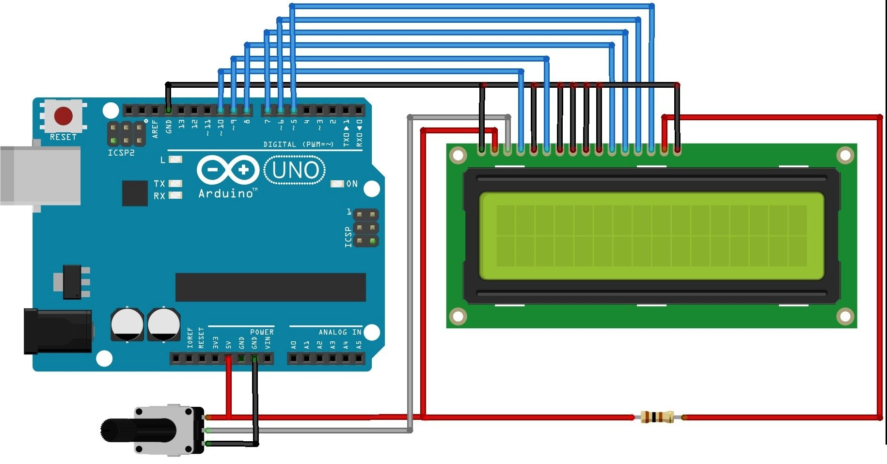 Interfacing LCD with Arduino UNO interfacing character lcd with arduino uno lcd wiring diagram at gsmx.co
