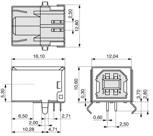 USB B Socket Right Angle Through Hole Dimensions