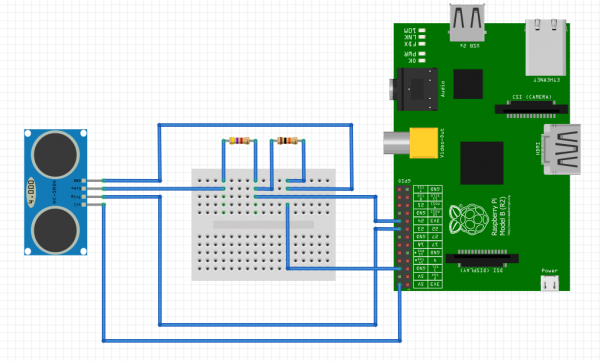 Interfacing Raspberry Pi with HC-SR04 Circuit Diagram